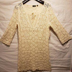 A.N.A Crochet/Knit Ivory Midi Dress